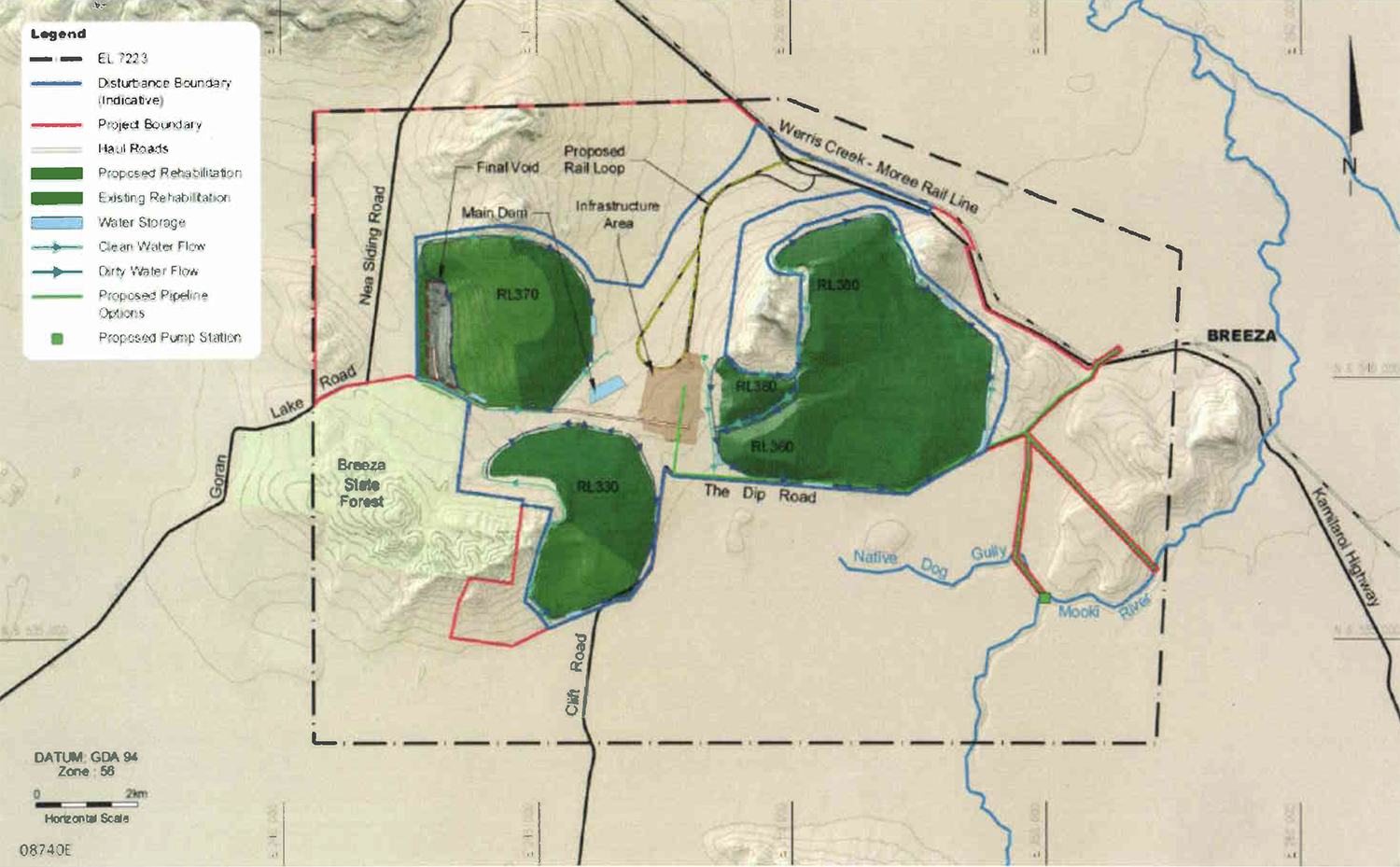 Figure showing 30-year mine plan with proposed 'final void'. Image credit: environment.gov.au