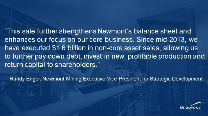 Newmont sells stake in Swiss gold refinery for US$119m