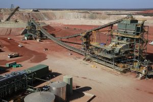 Anglo Gold Ashanti Australia - Tropicana Gold Mine site - birdseye view of plant, ROM in distance at far left. Image credit: Tropicana Joint Venture website