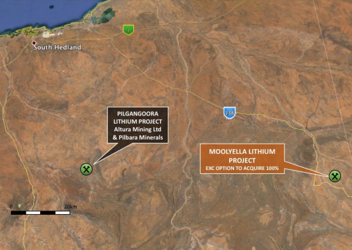 Moolyella Lithium Project Tenement Location Plan Image credit: Exterra Resources ASX release