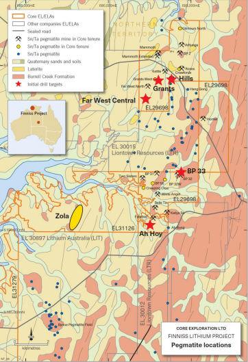 Core Exploration to commence drilling at Finniss Lithium Project
