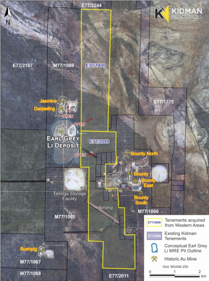 Kidman Resources expands Earl Grey Lithium Project with two neighbouring tenements